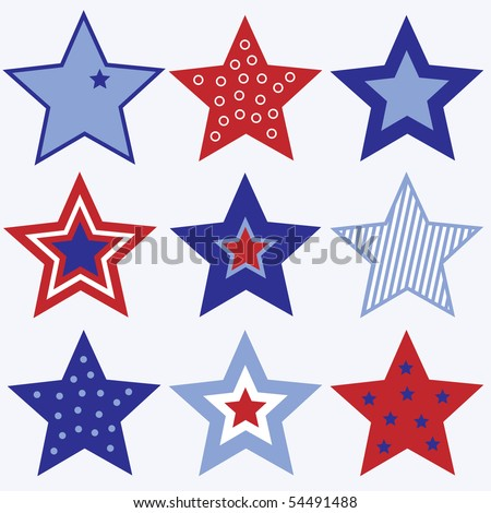 Set of Red White and Blue Stars Vector