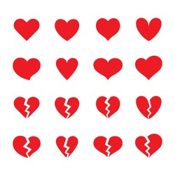 Set of red whole and broken heart shaped symbols. Collection of different romantic vector heart icons for web site, sticker, love logo and Valentines day.