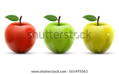 Set of red, yellow and green apples isolated on white background. Stock vector illustration