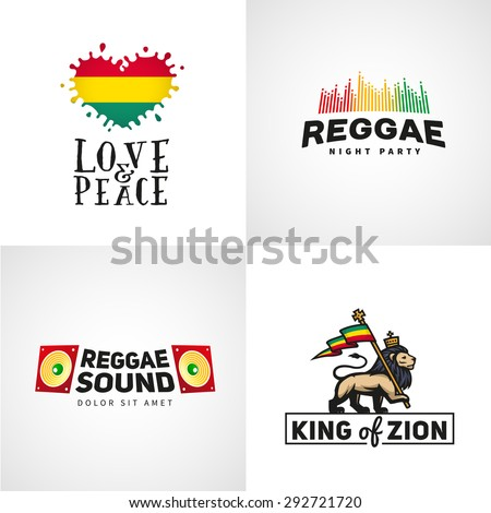 set of reggae music vector