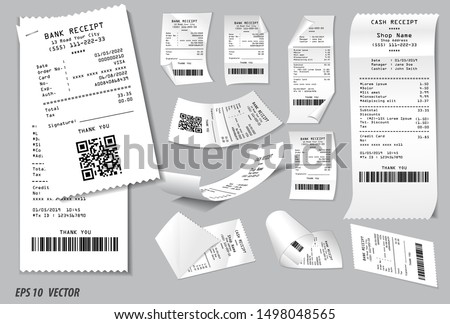 set of register sale receipt or cash receipt printed on white paper concept. easy to modify