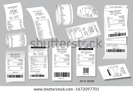 set of register sale receipt or cash receipt printed on white paper concept. eps 10 vector, easy to modify