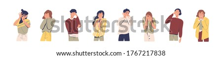 Set of regret or embarrassed people vector illustration. Collection of disappointed man and woman hide face behind hands, demonstrate facepalm gesture or ashamed expression isolated on white