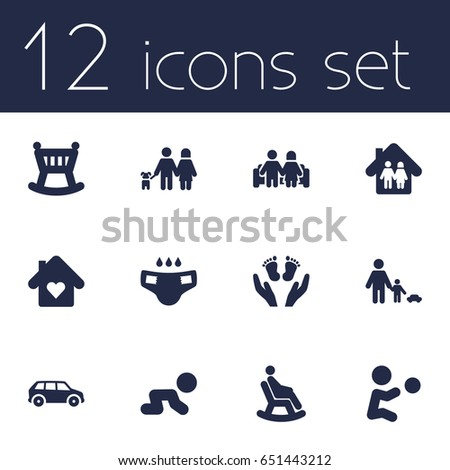 Set Of 12 Relatives Icons Set.Collection Of Nappy, Cot, Creep Baby And Other Elements.