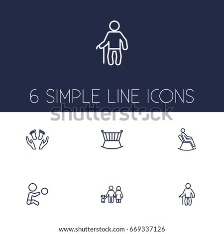 Set Of 6 Relatives Outline Icons Set.Collection Of Man In Armchair, Grandfather, Lovers Elements.