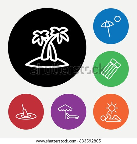 set of 6 relax outline icons