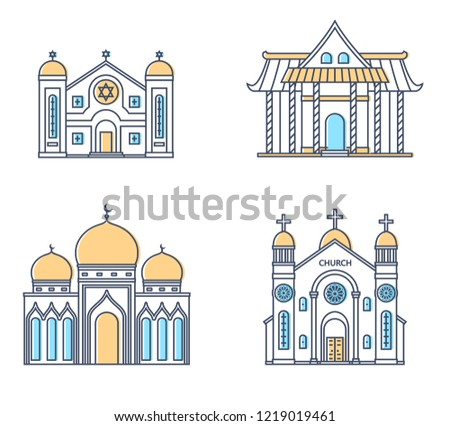 Set of religion buildings. Church, mosque, synagogue, pagoda. Traditional religions architecture. Vector illustration.