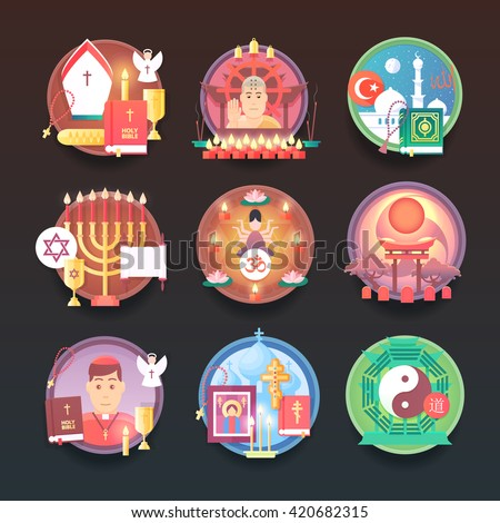 Shutterstock Set of religion icons. Religions and confessions illustration concepts. Flat modern style.