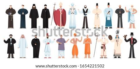 Set of religion people wearing specific uniform. Male religious figure collection. Buddhist monk, christian priests, rabbi judaist, muslim mullah. Flat vector illustration Foto stock ©