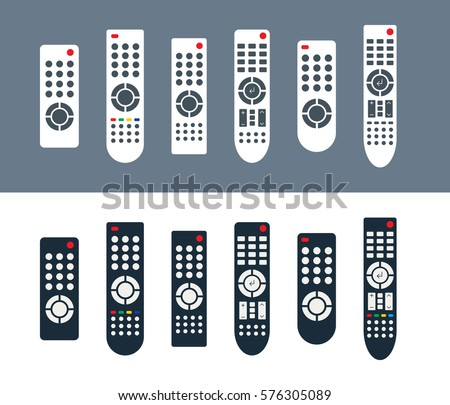 Set of remote controls for TV or media center. Isolated flat icons. Infrared controller symbols in white and black color variants. Vector eps8 illustration.