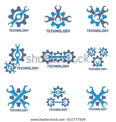 Set of repair auto service icons. Technology logo.