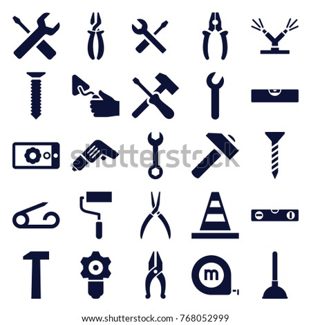 Set of 25 repair filled icons such as pin, plunger, screw, wrench, cone, hummer, roller, level ruler, pliers, trowel, wrench and screwdriver, gear keyhole, screwdriver