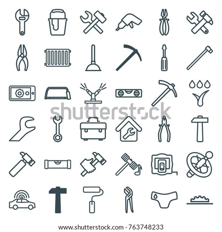Set of 36 repair outline icons such as hammer, police car, measure tape, level ruler, children panties, plunger, toolbox, wrench, nippers, screwdriver, hummer, drill