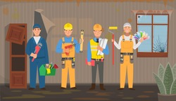 Set of repair people. Plumber, carpenter, installer,  engineer, painter, colorist. Vector flat illustration in cartoon style.