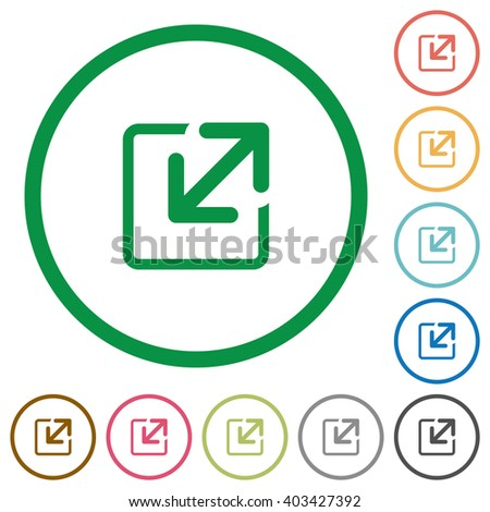 Set of resize window color round outlined flat icons on white background