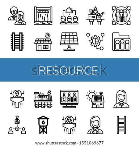Set of resource icons. Such as Shareholder, Ladder, Dam, Solar, Group, Solar panel, Oil rig, Grouping, Team member, Human resources, Collaboration, Water tower , resource icons