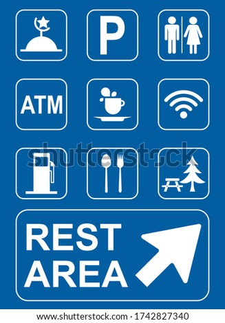 Set of Rest area sign vector illustration, Symbols for urban areas, Professional icon set in flat style. Photo stock ©