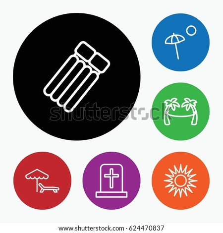 set of 6 rest outline icons