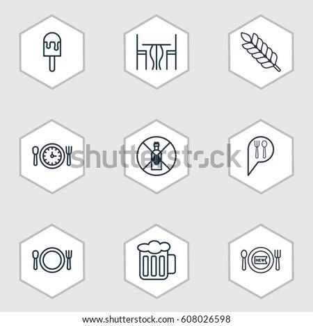set of 9 restaurant icons