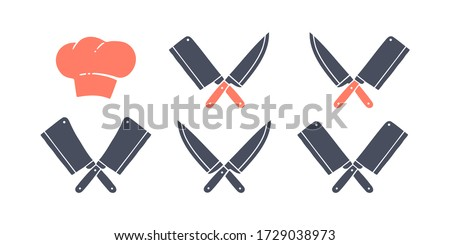 Set of restaurant knives icons, hat chef. Silhouette butcher knives - Cleaver and Chef Knives and hat chef. Logo template for meat business - farmer shop, market or design. Vector Illustration