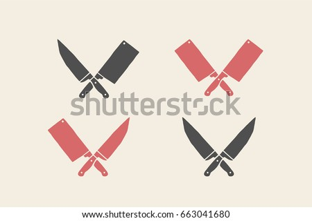 Set of restaurant knives icons. Silhouette  - Cleaver and Chef Knives. Logo template for meat business - farmer shop, market or design - label, banner, sticker. Vector Illustration