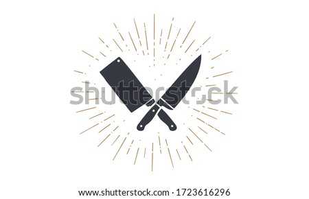 Set of restaurant knives icons. Silhouette two butcher knives - Cleaver and Chef Knives and sunburst. Logo template for meat business - farmer shop, market, butchery or design. Vector Illustration