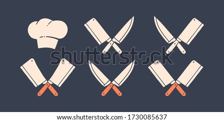 Set of restaurant knives icons. Silhouette two butcher knives - Cleaver and Chef Knives, hat chef. Logo template for meat business - farmer shop, market or design. Vector Illustration