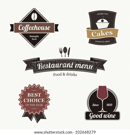 Set of restaurant labels