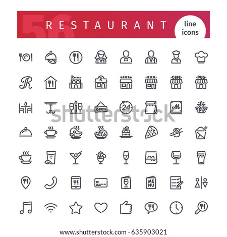 Set of 56 restaurant line icons suitable for web, infographics and apps. Isolated on white background. Clipping paths included.