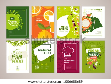 Set of restaurant menu, brochure, flyer design templates in A4 size. Vector illustrations for food and drink marketing material, ads, natural products presentation templates, cover design. - Shutterstock ID 1006688689
