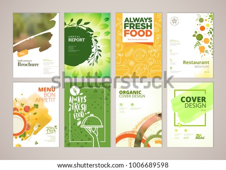Set of restaurant menu, brochure, flyer design templates in A4 size. Vector illustrations for food and drink marketing material, ads, natural products presentation templates, cover design. #1006689598