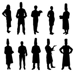Set Of Restaurant Professions Silhouettes. Vector Image