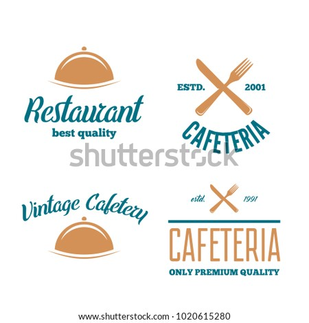 Set of Restaurant Shop Design Element in Vintage Style for Logotype, Label, Badge and other design.