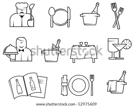 Set of restaurant symbols or logo template. Jpeg version also available