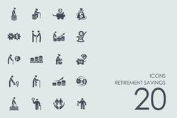 Set of retirement savings icons