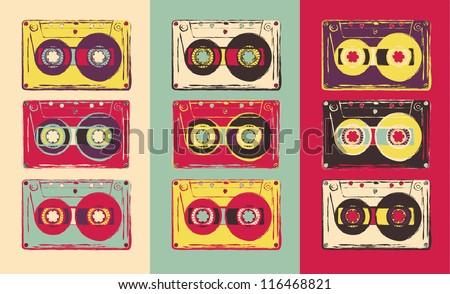 set of retro audio cassettes ...