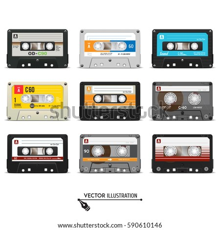 Set of retro audio cassettes. Realistic vector cassette on a white background.