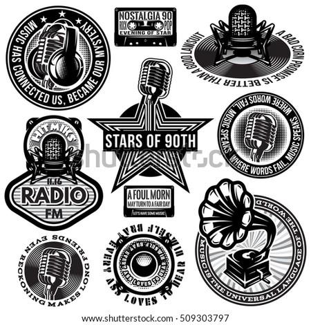 set of retro badges templates gramofon, microphones, speakers, headphones, audiocassette Stock fotó ©