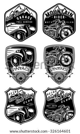 set of retro badges with car