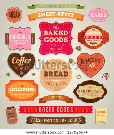 Set of retro bakery labels, ribbons and cards for vintage design, old paper textures
