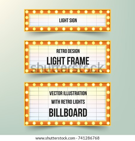 Set of retro banners with bulbs. Vintage retro light frames. Light signs in classic design. Vector illustration.