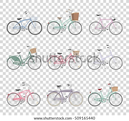 set of retro bicycles isolated...