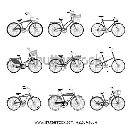 set of retro bicycles...