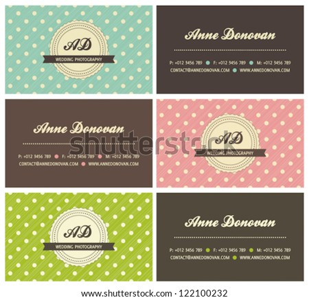set of retro business cards with polka dots, vector illustration