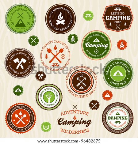 Set of retro camping and outdoor adventure logo badges and labels