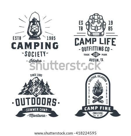 set of retro camping outdoor