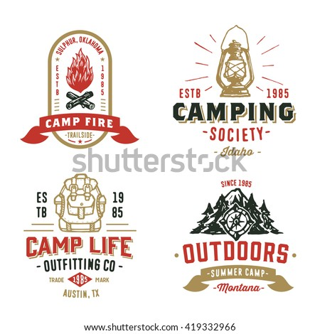 set of retro camping outdoor...