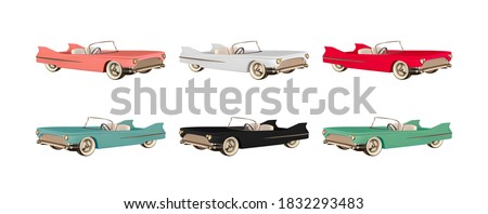 Set of Retro car convertible realistic. Luxury vintage 3d car red and white, black and blue, brown pink color. object isolated on white background. Period from 40s to 80s years. Vector illustration