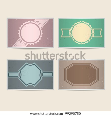 Set of retro cards for your design. Vector illustration