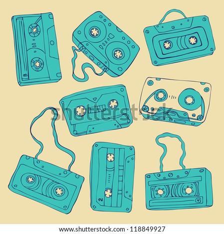 Set of retro cassette tapes. Vector illustration.